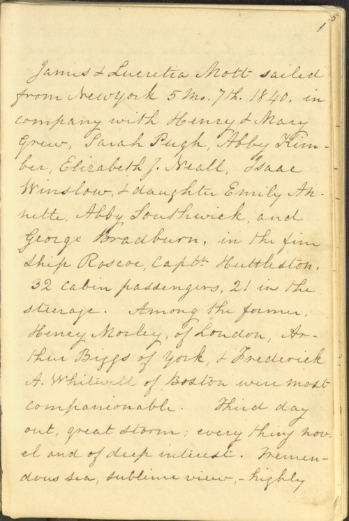 Memoranda during a Passage to & from England and Three Months Travel in Great Britain and Ireland, 1840, item ID: A00179435. Mott Manuscripts, SFHL-MSS-035. Friends Historical Library of Swarthmore College.