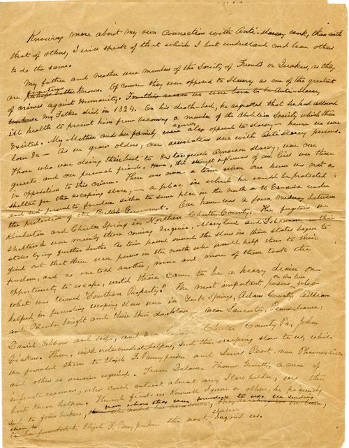 Graceanna Lewis Underground Railroad memoir, item ID:  A00180201. Lewis-Fussell Family Papers, SFHL-RG5-087, Friends Historical Library of Swarthmore College.
