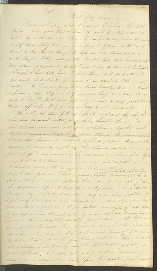 Graceanna Lewis letter to Mary Townsend, item ID: A00179492A. Lewis-Fussell Family Papers, SFHL-RG5-087, Friends Historical Library of Swarthmore College.