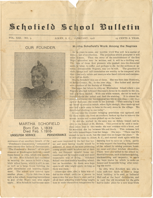 Schofield School Bulletin 1916-02 (Vol. 21, No. 5), item ID: A00183267. Martha Schofield Papers, SFHL-RG5-134, Friends Historical Library of Swarthmore College.