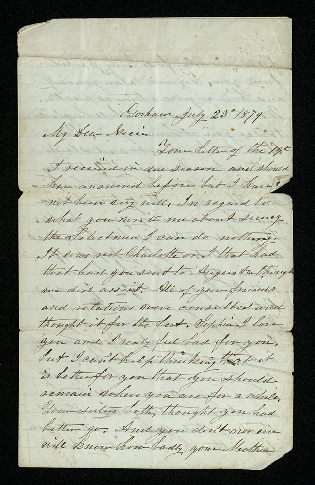 Letter tipped into Sophia Perry diaries, vol. 4