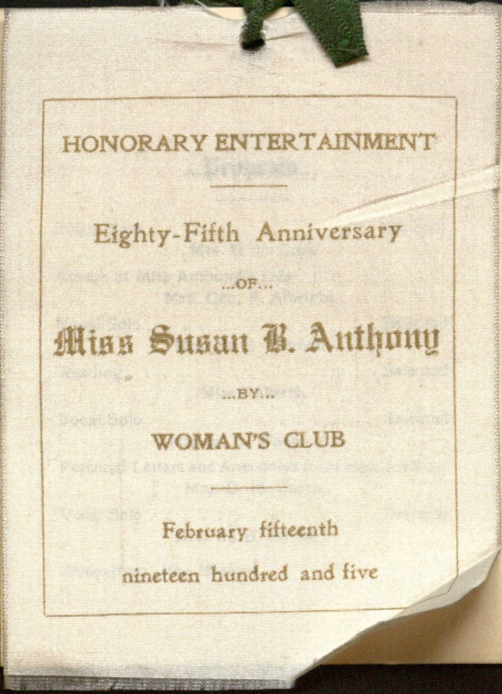 Albuquerque Women's Club Program of Honorary Entertainment, Eighty-Fifth Anniversary of Miss Susan B. Anthony, February 15, 1905. Margaret Kent Medler Scrapbook and Almanacs, MSS 225 BC Box 1, Center for Southwest Research and Special Collections, University of New Mexico Libraries. https://nmdc.unm.edu/digital/collection/Manuscripts/id/10744/rec/26