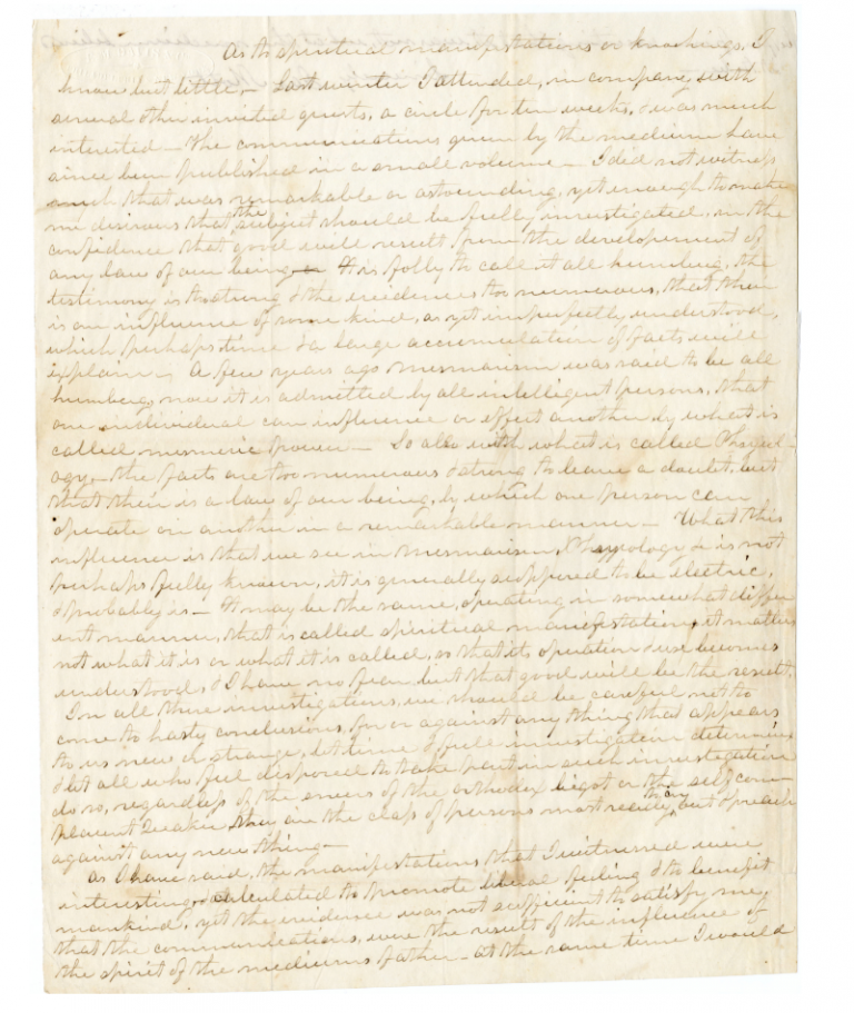 A letter written by James Mott describing his experiences at a seance and his interest in spiritualism. Mott Manuscripts, SFHL-MSS-035, Friends Historical Library of Swarthmore College.