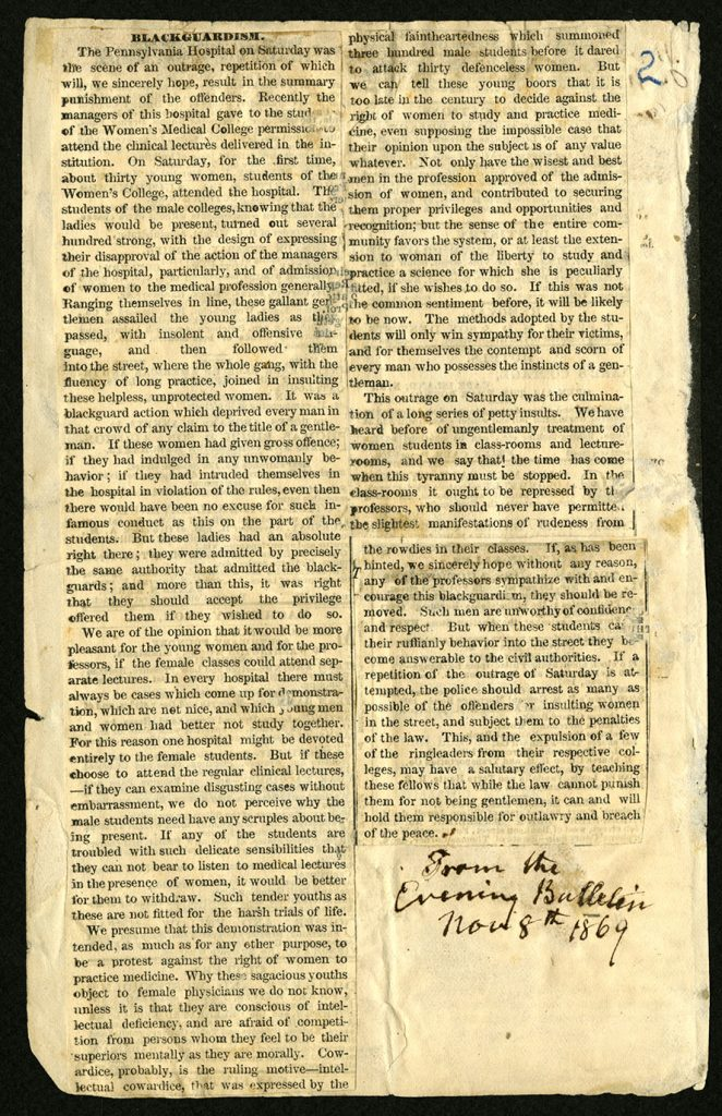 """Blackguardism"" Woman's Medical College of Pennsylvania clippings scrapbook: Volume 1, page 2."