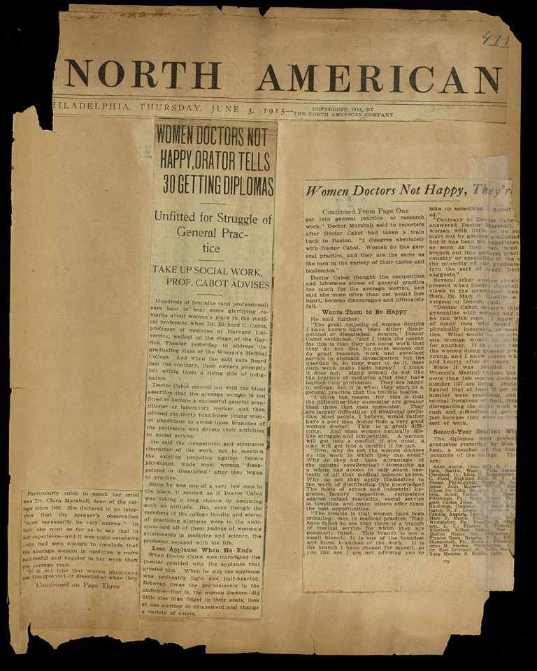"""""""Women Doctors Not Happy, Orator Tells 30 Getting Diplomas"""" Woman's Medical College of Pennsylvania clippings scrapbook: Volume 5, page 411."""