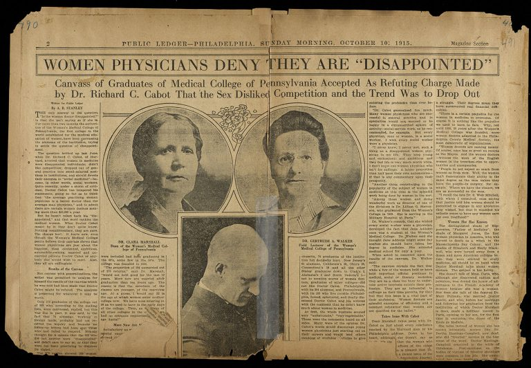 """Women Physicians Deny They Are ""Disappointed"""" Woman's Medical College of Pennsylvania clippings scrapbook: Volume 5, page 490."