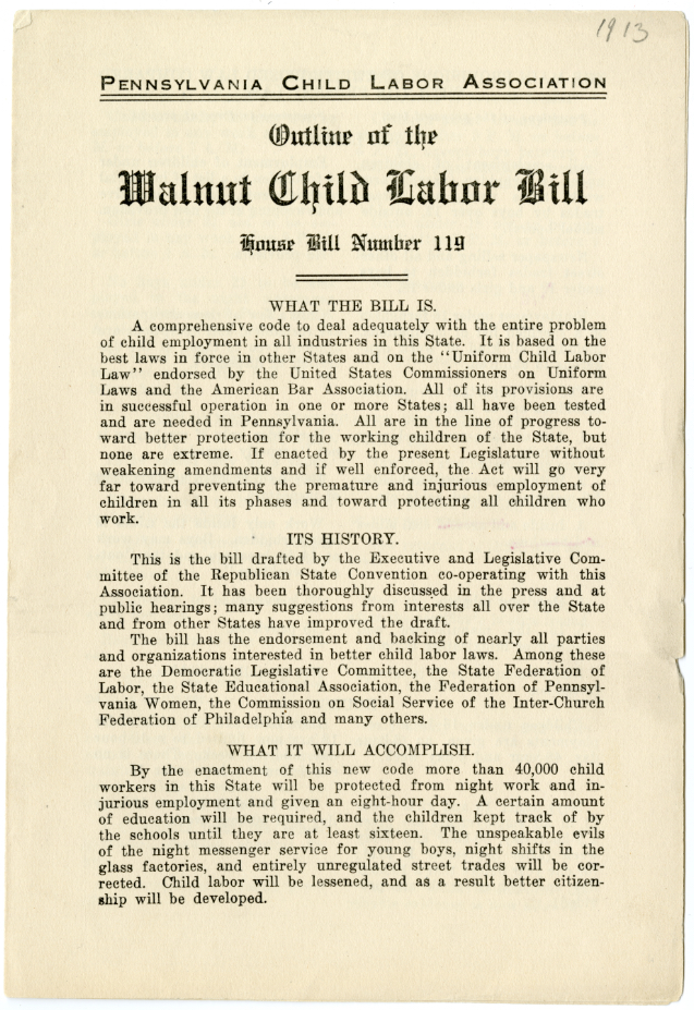 Outline of the Walnut Child Labor Bill, House Bill Number 119. Temple University, ACLAZ201904000023_001