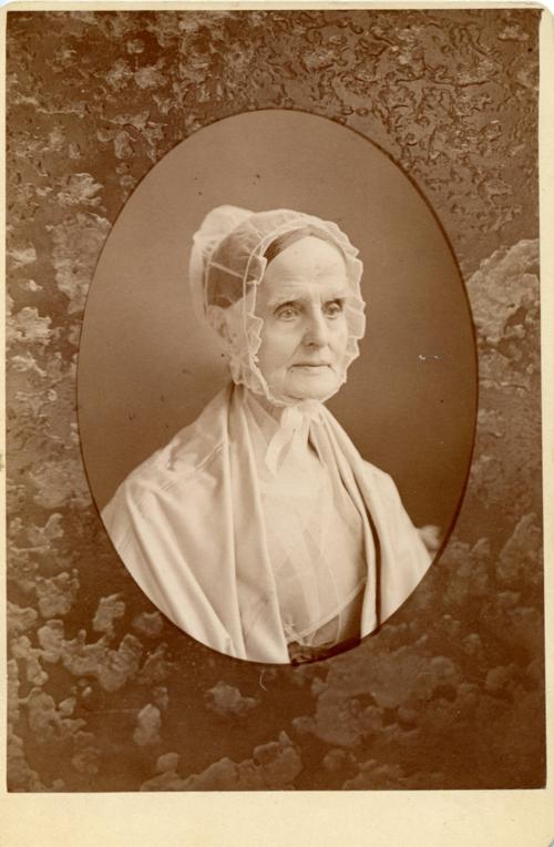 Cabinet card portrait of Lucretia (Coffin) Mott, 1875.