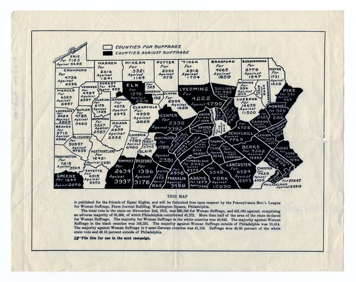 A map depicting the referendum votes regarding suffrage in Pennsylvania in 1915, by county. Originally published by the Pennsylvania Men's League for Woman Suffrage. HSP 10447