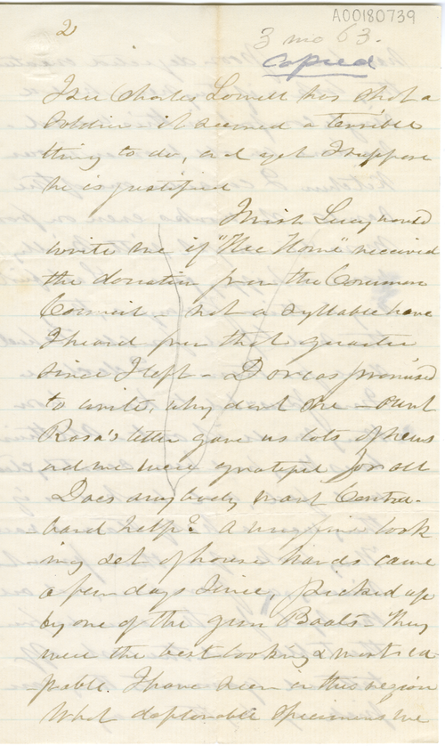 Abby Hopper Gibbons letter, March 1863, A00180739