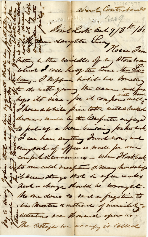 Abby Hopper Gibbons letter to Lucy Gibbons, 8 September 1862, Point Lookout, Maryland, A00180879